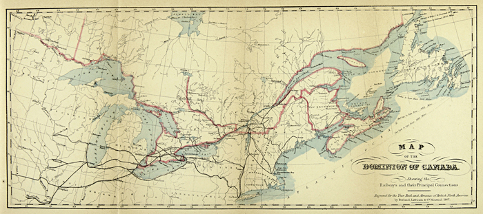 Dominion of Canada showing the Railways and their principal