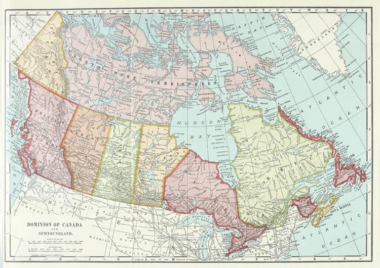 Carte Historique Canada.Carte Du Dominion Du Canada Et Terre Neuve 1917 Anglais