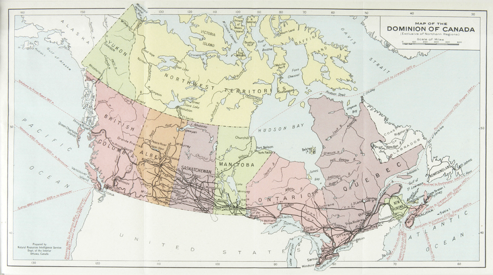 Map Of Canada Government Of Canada.Map Of The Dominion Of Canada 1927