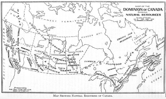 Map of the Dominion of Canada showing natural resources 1927 – Map Showing Canada