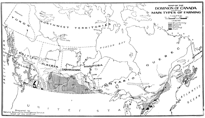 Map of the Dominion of Canada showing main types of farming 1927 – Map Showing Canada
