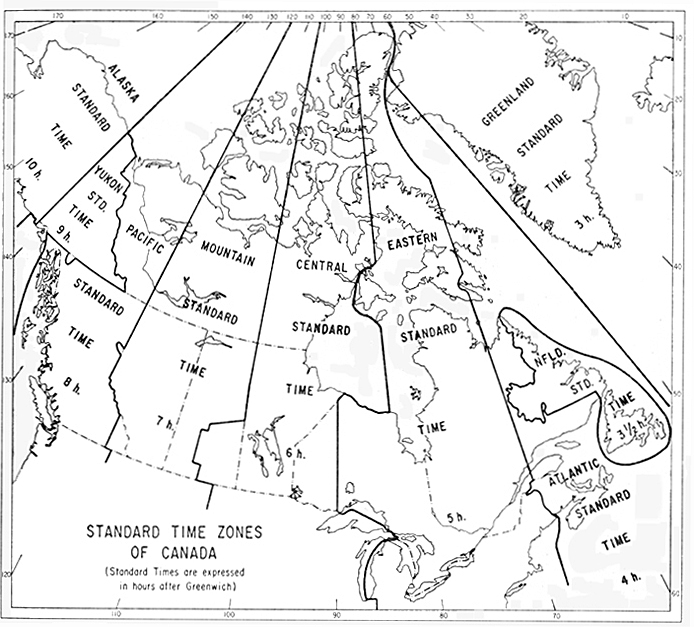 time zones of Canada 1967