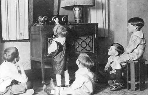 Children listening to radio, Calgary, Alberta, circa 1920s