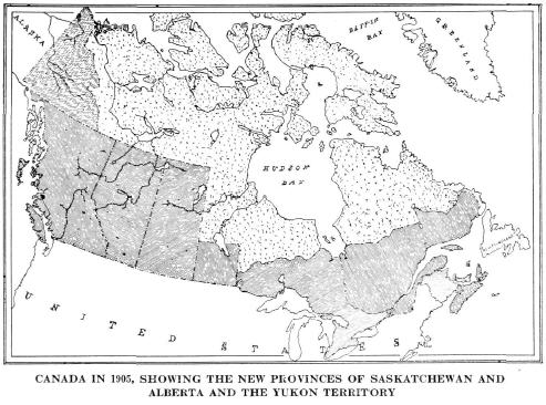 Map Of Canada 1905.Canada In 1905 Showing The New Provinces Of Saskatchewan And