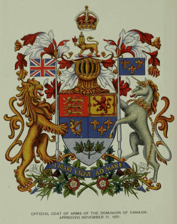 Official Coat of Arms of the Dominion of Canada, Approved November 21, 1921.