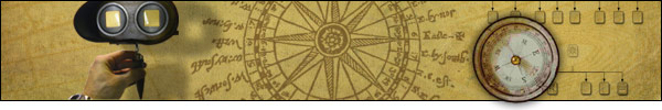 Banner: Site map. Image of a star map, an organization chart, an antique compass and binoculars.